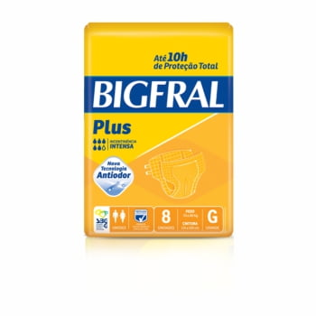 Fralda Geriátrica Bigfral Plus Tamanho G 8 Unidades